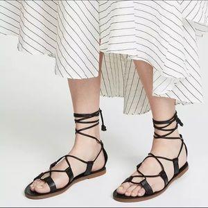 Madewell Boardwalk Black Gladiator Tassel Sandals